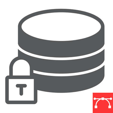 Secure data glyph icon, security and computing, database sign vector graphics, editable stroke solid icon