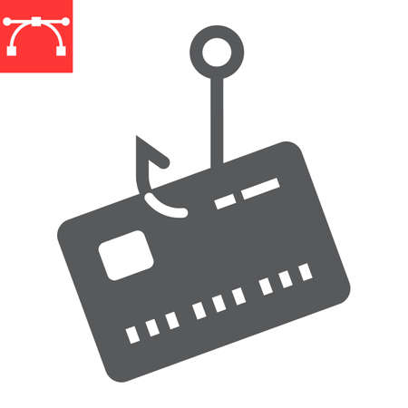 Banking scam glyph icon, security and phishing password, data theft sign vector graphics, editable stroke solid icon,  .