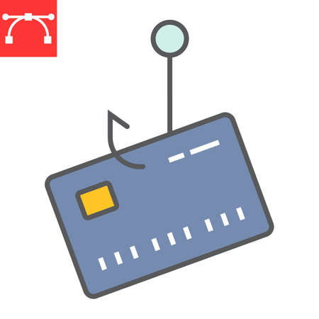 Banking scam color line icon, security and phishing password, data theft sign vector graphics, editable stroke filled outline icon,  .