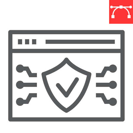 Web browser protection line icon, security and shield, web antivirus sign vector graphics, editable stroke linear icon,  .