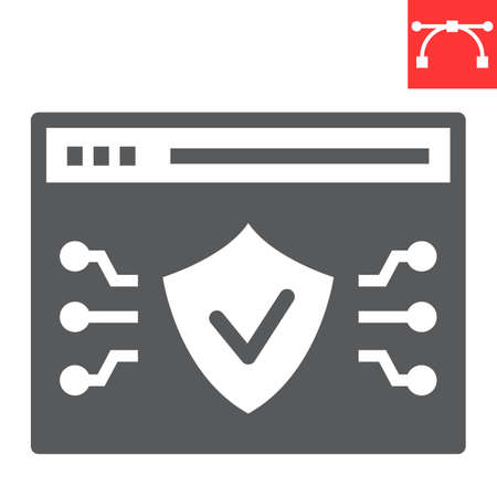 Web browser protection glyph icon, security and shield, web antivirus sign vector graphics, editable stroke solid icon,  . Ilustrace