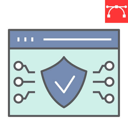 Web browser protection color line icon, security and shield, web antivirus sign vector graphics, editable stroke filled outline icon,  . Ilustrace