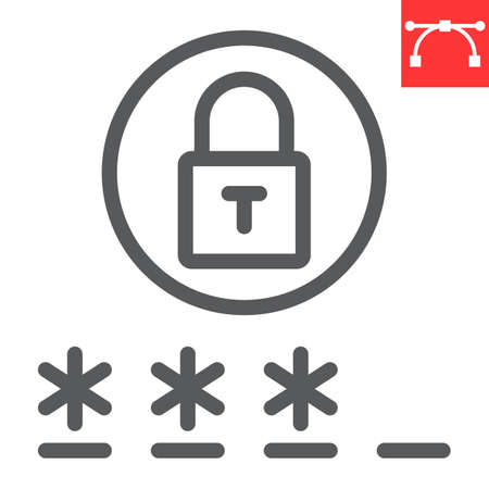 Password line icon, security and lock, padlock sign vector graphics, editable stroke linear icon,  .