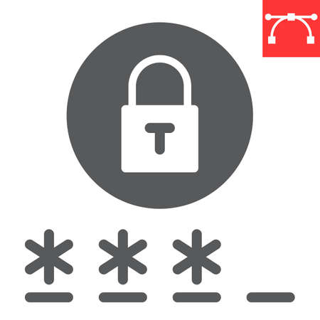 Password glyph icon, security and lock, padlock sign vector graphics, editable stroke solid icon,  .