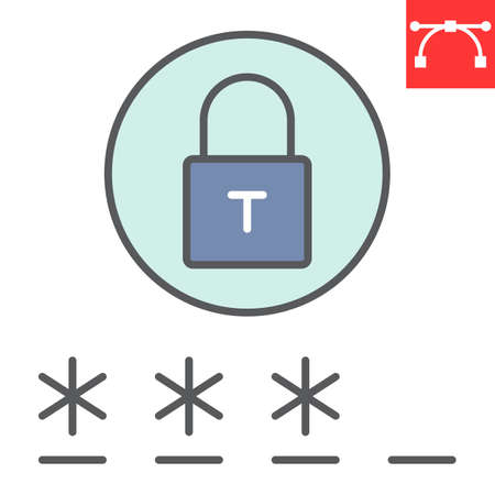 Password color line icon, security and lock, padlock sign vector graphics, editable stroke filled outline icon,  .
