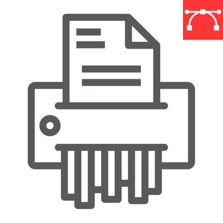 Paper shredder line icon, security and paperwork, document shredder sign vector graphics, editable stroke linear icon,  .