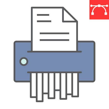 Paper shredder color line icon, security and paperwork, document shredder sign vector graphics, editable stroke filled outline icon icon,  .
