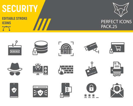 Security glyph icon set, network protection collection, vector sketches, logo illustrations, security icons, cyber security signs solid pictograms, editable stroke.