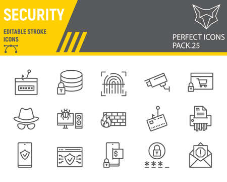Security line icon set, network protection collection, vector sketches, logo illustrations, security icons, cyber security signs linear pictograms, editable stroke. Ilustrace