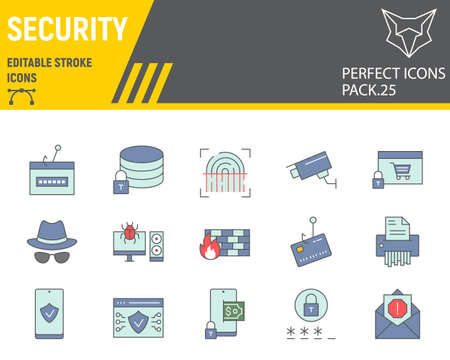 Security color line icon set, network protection collection, vector sketches, logo illustrations, security icons, cyber security signs filled outline pictograms, editable stroke.