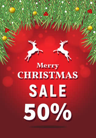 Merry Christmas sale 50 percent off, discount type text, Christmas discount vector, red background with fir tree branches, Christmas sale banner.