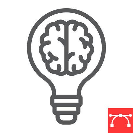 Creative brain line icon, idea and light-bulb, creative thinking sign vector graphics, editable stroke linear icon