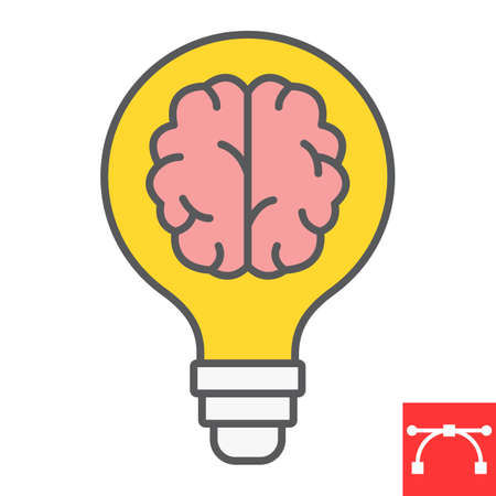 Creative brain color line icon, idea and light bulb, creative thinking sign vector graphics, editable stroke filled outline icon Ilustrace