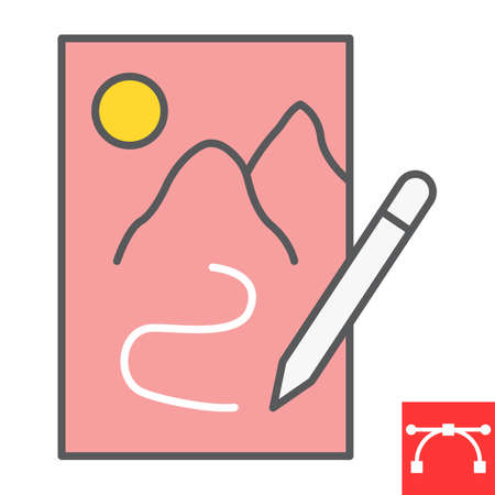 Sketching color line icon, sketch and designer, paper and pencil sign vector graphics, editable stroke filled outline icon