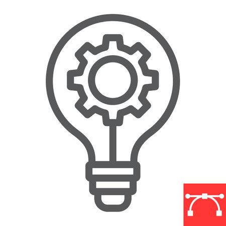Idea generation line icon, creative and gear, light bulb sign vector graphics, editable stroke linear icon Ilustrace