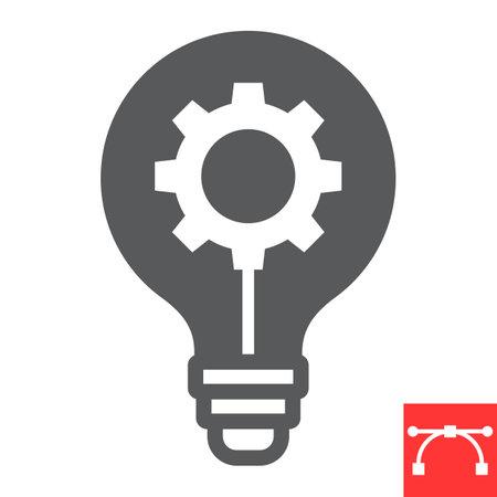 Idea generation glyph icon, creative and gear, light bulb sign vector graphics, editable stroke solid icon