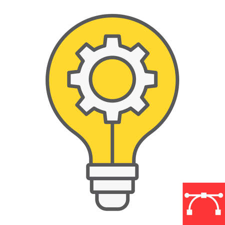 Idea generation color line icon, creative and gear, light bulb sign vector graphics, editable stroke filled outline icon