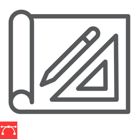 Design project line icon, house plan and blueprint, architecture sign vector graphics, editable stroke linear icon