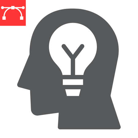 Inspiration glyph icon, lightbulb and brainstorm, creativity sign vector graphics, editable stroke solid icon Ilustrace