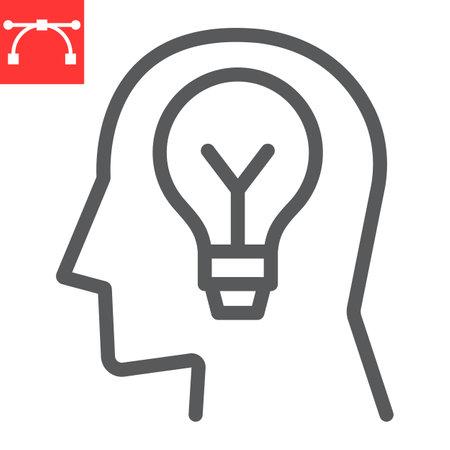 Inspiration line icon, lightbulb and brainstorm, creativity sign vector graphics, editable stroke linear icon