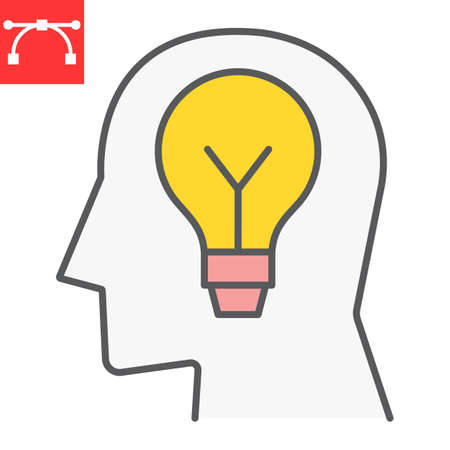 Inspiration color line icon, light bulb and brainstorm, creativity sign vector graphics, editable stroke filled outline icon