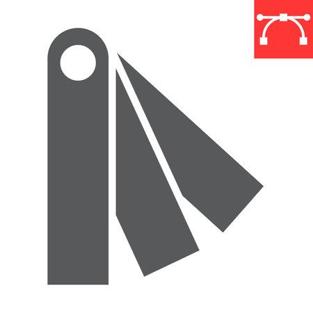 Color charts glyph icon, multi color and color pallete, colors sign vector graphics, editable stroke solid icon