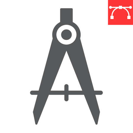 Divider glyph icon, compass and architect, divider sign vector graphics, editable stroke solid icon