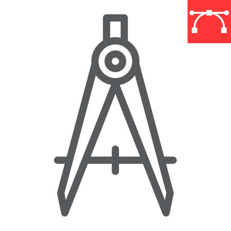 Divider line icon, compass and architect, divider sign vector graphics, editable stroke linear icon Ilustrace