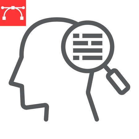 Customer requirement line icon, management and business, man with magnifier sign vector graphics, editable stroke linear icon