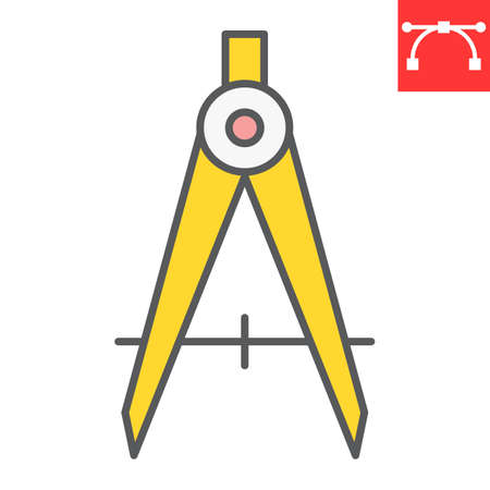Divider color line icon, compass and architect, divider sign vector graphics, editable stroke filled outline icon