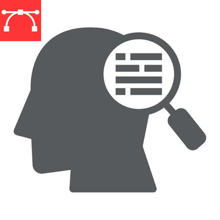 Customer requirement glyph icon, management and business, man with magnifier sign vector graphics, editable stroke solid icon