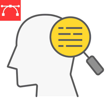 Customer requirement color line icon, management and business, man with magnifier sign vector graphics, editable stroke filled outline icon