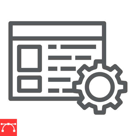 Content management line icon, marketing and seo, browser with cog sign vector graphics, editable stroke linear icon