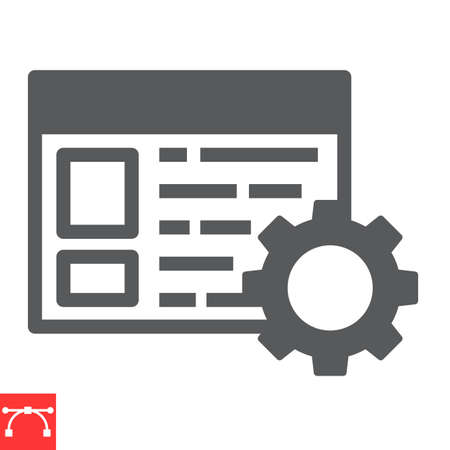Content management glyph icon, marketing and seo, browser with cog sign vector graphics, editable stroke solid icon Ilustrace
