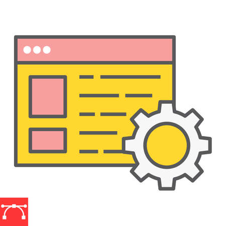 Content management color line icon, marketing and seo, browser with cog sign vector graphics, editable stroke filled outline icon
