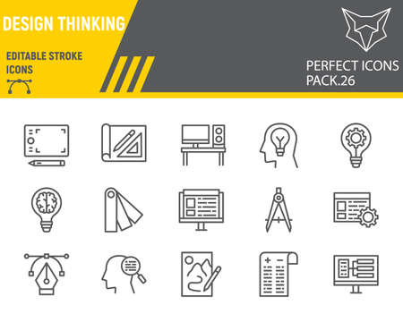 Design thinking line icon set, ideation collection, vector sketches design thinking icons, design signs linear pictograms, editable stroke.