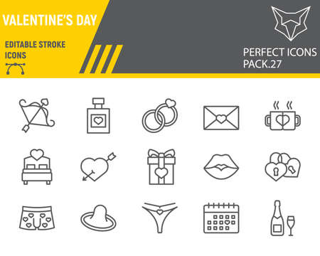 Valentines day line icon set, wedding collection, vector sketches, logo illustrations, valentines day icons, celebration signs linear pictograms, editable stroke. Ilustrace