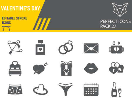 Valentines day glyph icon set, wedding collection, vector sketches, logo illustrations, valentines day icons, celebration signs solid pictograms, editable stroke.