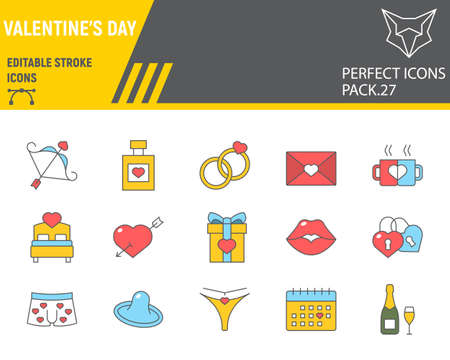 Valentines day color line icon set, wedding collection, vector sketches, logo illustrations, valentines day icons, celebration signs filled outline pictograms, editable stroke.