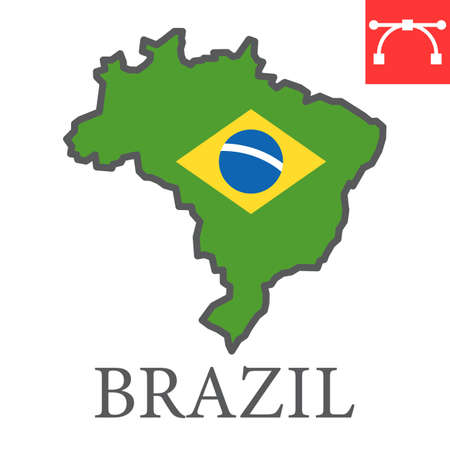 Map of Brazil color line icon, country and geography, brazil map flag sign vector graphics, editable stroke filled outline icon.