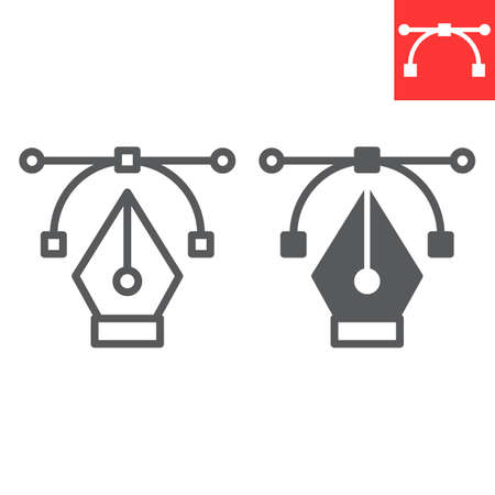 Curvature tool line and glyph icon, graphic design and designer, pen tool sign vector graphics, editable stroke linear icon. 일러스트