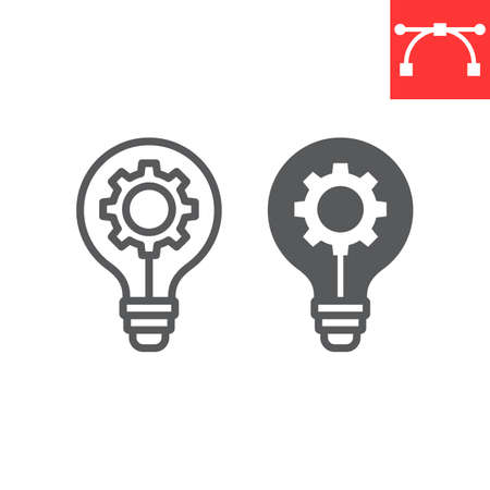 Idea generation line and glyph icon, creative and gear, light bulb sign vector graphics, editable stroke linear icon.
