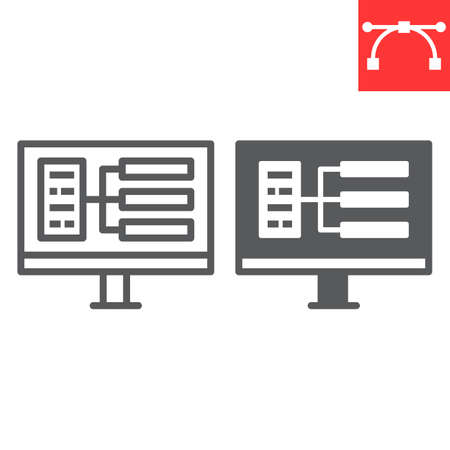 UX design line and glyph icon, design and graphic, UI design sign vector graphics, editable stroke linear icon.