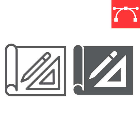 Design project line and glyph icon, house plan and blueprint, architecture sign vector graphics, editable stroke linear icon.