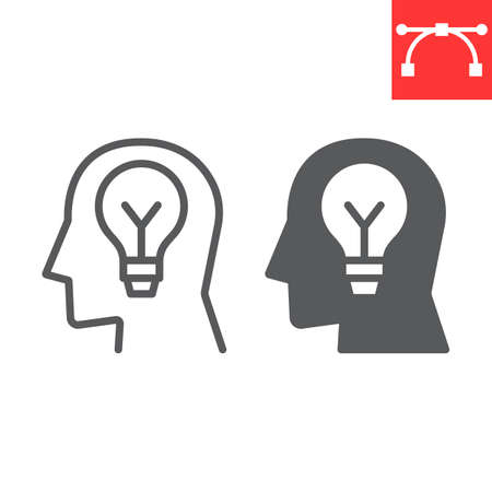 Inspiration line and glyph icon, lightbulb and brainstorm, creativity sign vector graphics, editable stroke linear icon.