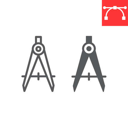 Divider line and glyph icon, compass and architect, divider sign vector graphics, editable stroke linear icon. 일러스트