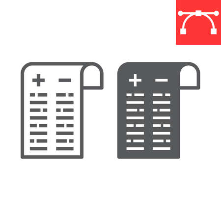 Pros and cons line and glyph icon, test and choose, pros and cons sign vector graphics, editable stroke linear icon. 일러스트