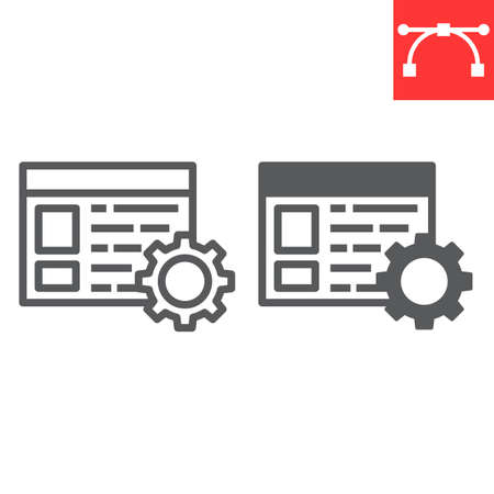 Content management line and glyph icon, marketing and seo, browser with cog sign vector graphics, editable stroke linear icon.