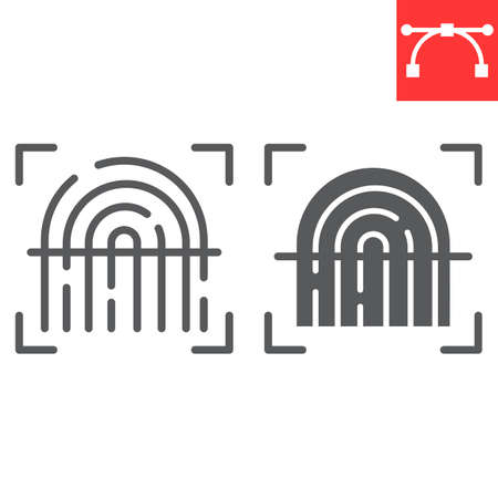 Fingerprint scan line and glyph icon, security and biometric, finger print sign vector graphics, editable stroke linear icon.
