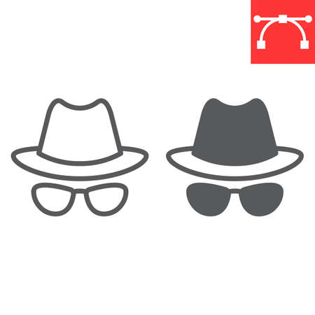 Spy agent line and glyph icon, security and detective, hacker sign vector graphics, editable stroke linear icon.